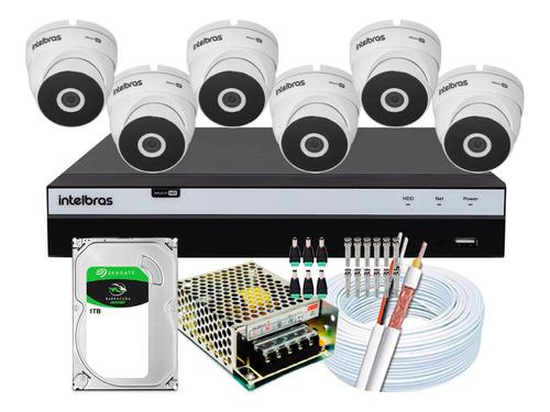 Imagem 1 de 5 de Kit Full Hd Intelbras 6 Cameras 4x1 Dome Vhd 3220d 3108 2mp
