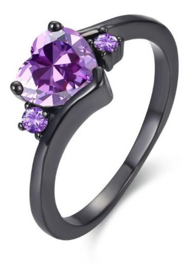 Anillo Compromiso Corazon Black Silver Purpura Regalo Envíog