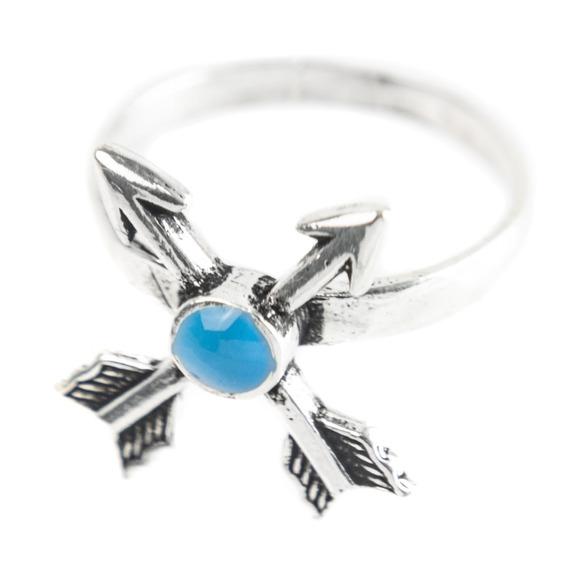 Anel Prata 925 - Flechas - Azul