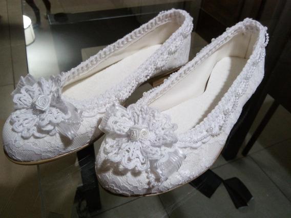 Zapatos Novia Ballerinas Chatitas Casamiento Comunion Fiesta