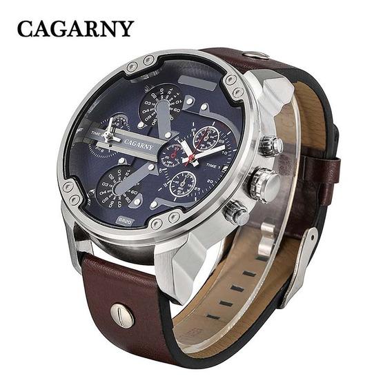 Relógio De Pulso Original Cagarny Quartz Pul. Couro Mod 6820