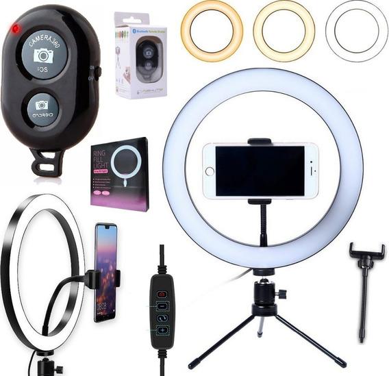 Ring Light Iluminador Luz Led Selfie Tripé Mesa + Bluetooth