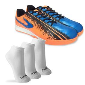 Kit Chuteira Futsal Azul+3 Pares Meias C/curto M Polomatch