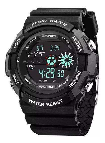 Relógio Sanda 320 Militar Esportivo Preto - Promoção