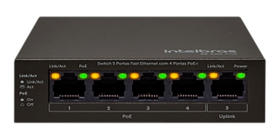 Switch 5 Portas Fast Com 4 Portas Poe Sf 500 Poe -lançamento