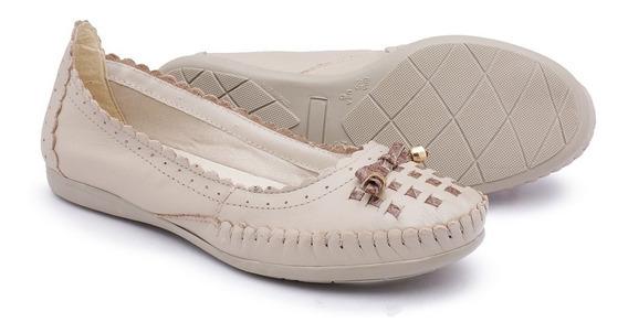 Sapato Sapatilha Casual Couro Feminina Ortopédica Conforto
