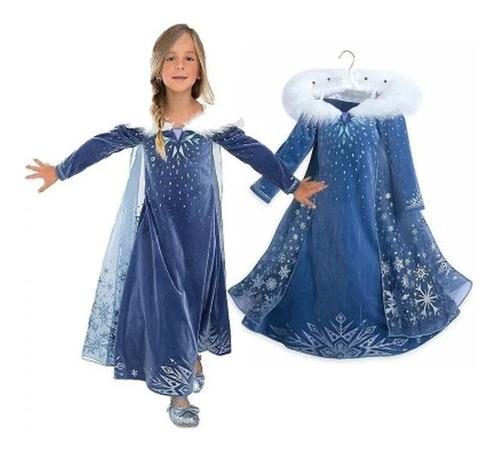 Disfraz Vestido De Frozen 2, Con Capa,corona Y Bordados!