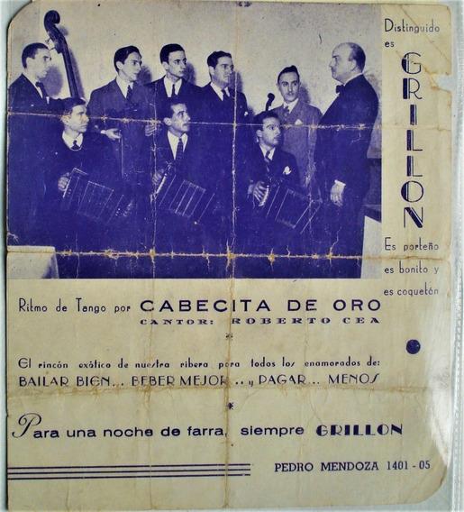 Publicidad Salón De Baile Grillon Tango Bailes Populares