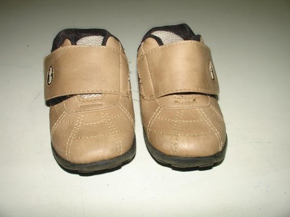 Menino Sapato Sapatenis Marrom Velcro Tompe Tamanho 22