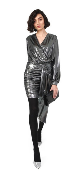 Vestido Corto Mujer Escote Cruzado Color Plata Lob