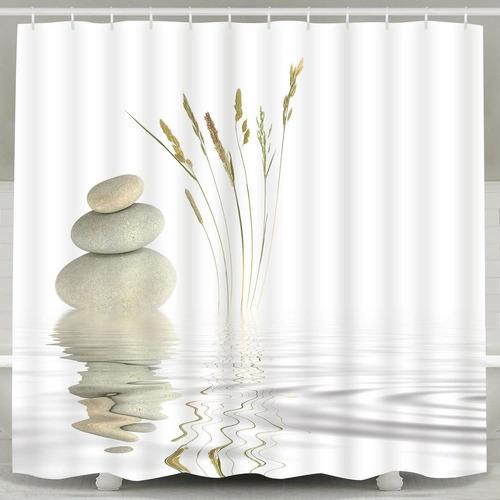 Imagen 1 de 4 de Bleum Cade Cortina De Ducha Zen Stone Wild Grass Reflejo En