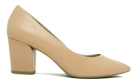 Sapato Scarpin Usaflex Z7601 Couro Salto Grosso Conforto