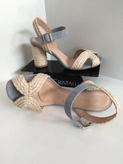 Sandalia Salto Grosso Di Cristalli Delicada