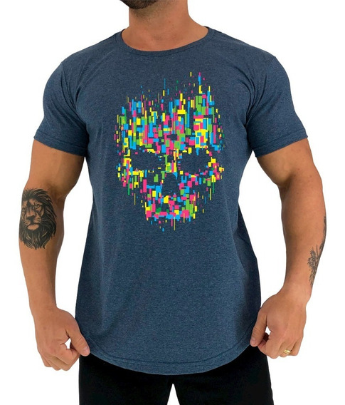 Camiseta Longline Mxd Caveira Abstrata Skull Abstract