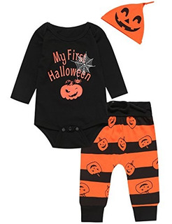 3pcs Baby Boys Outfit Set Disfraz De Calabaza De Halloween M