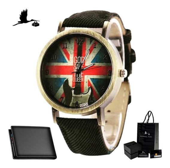 Relógio Bandeira Inglaterra Guitarra Moda Casio + Carteira
