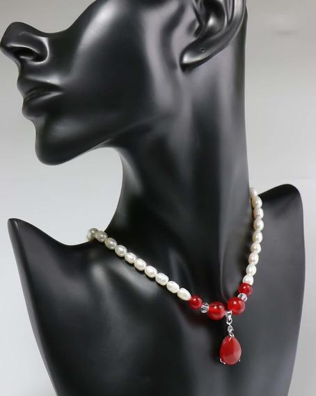 Quality Collar De Perlas De Rojo Gota En Jade Joya