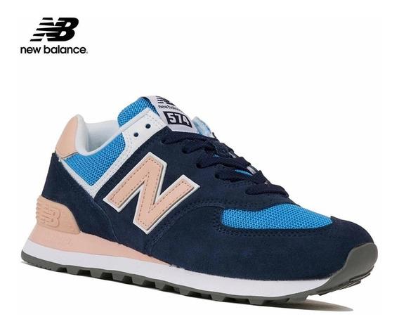 Zapatillas Mujer New Balance Wl574wnd 574 Classic Azul/rosas