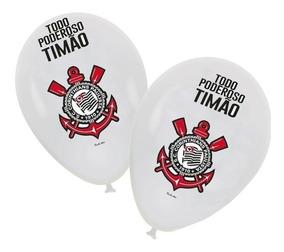 Balão De Festas Corinthians Colorido 25 Unidades