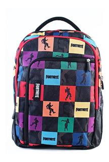 Mochila Fortnite Multicolor Espalda Doble Bolsillo Original