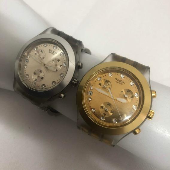 Relógio Swatch Full Blooded Dourado E Prata Original.