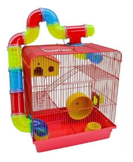 Gaiola Hamster Labirinto Tubo 3 Andares Jel Plast Linda