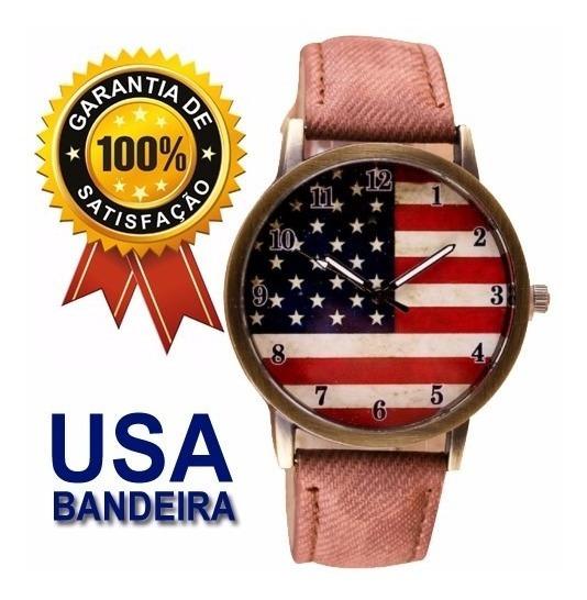 Relógio Vintage Bandeira Usa Pulseira Tecido Marrom