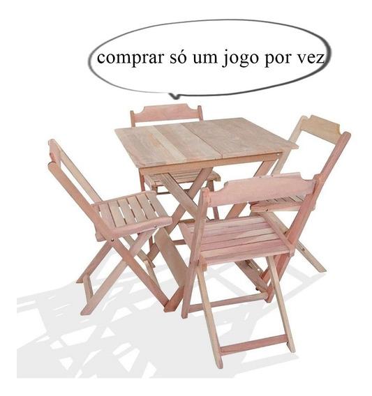 Conjunto 4 Cadeiras E 1 Mesa Dobrável 60 X 60 - Madeira