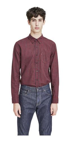 Camisa Levis Hombre Classic One Pocket Cuadros Rojos