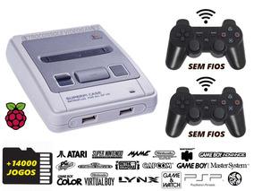 Videogame Super Famicom Retrô, 2 Controles Wifi, 14000 Jogos