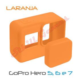 Capa Protetora + Tampa Silicone Gopro Hero 5, 6 E 7 Laranja