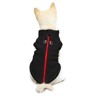 Gooby Zip Up Dog Fleece Vest For Small Dogs, Negro