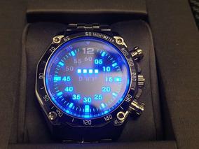 Relógio Digital Binário Tvg Leds Azuis Lindo Elegante Casual