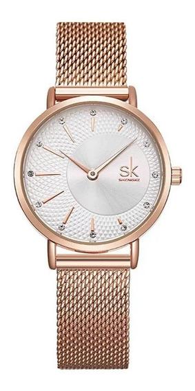 Relógio Feminino Rose Pequeno Pulso Fino Aço Inox Fino