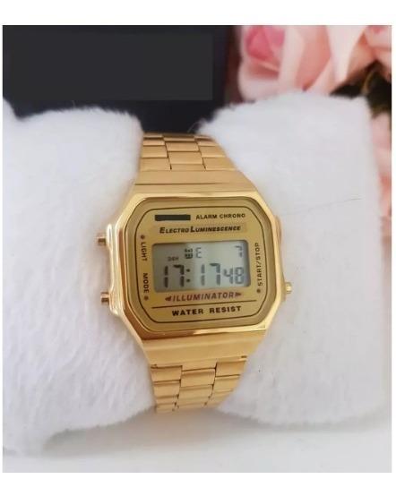 Relógio Pulso Dourado Unisex Retrô Original Vintage
