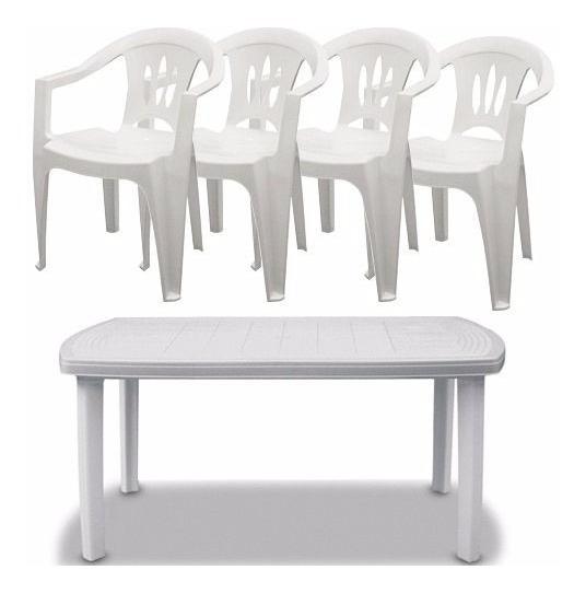 Conjunto 1 Mesa Itaparica E 4 Cadeiras Plastico Poltronas