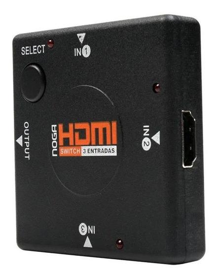Switch Divisor Hdmi 3 Entradas Hub Noga Tv Pc Full Hd 1080p