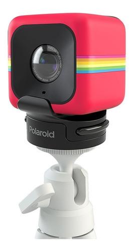 Câmera Cube Vermelho + Suporte C/ Tripé Polaroid Cube_kit2