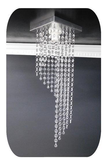 Lustre Pendente Cristal Acrílico Quadrado 50 Cm