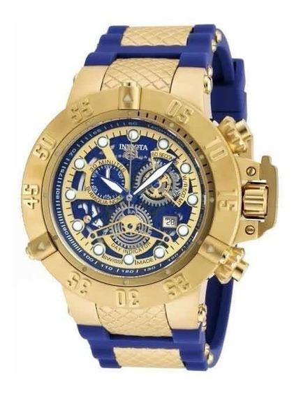 Relógio Invicta Subaqua Noma 18527 Dourado Pulseira Azul