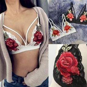 Bralette Con Parche De Rosa Bordada Brasier De Moda