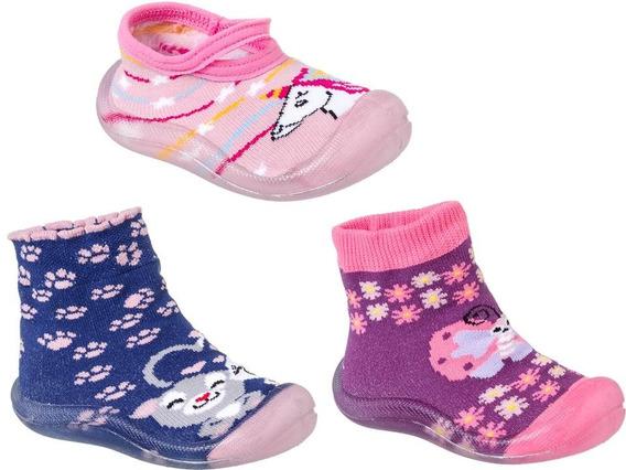 Kit 3 Pares Meia Com Sola Menina Keto Baby Rosa/pink