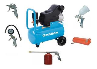 Compresor De Aire Gamma G2801ar24 Lts 2 Hp 8 Bar Con Kit