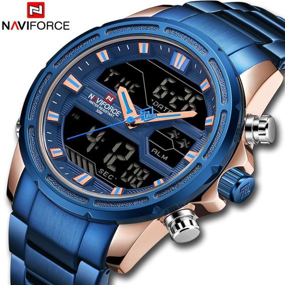 Relógio Naviforce 9138 Original Luxo Multifuncional Aço Inox