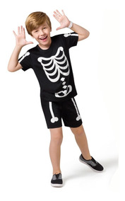 Pijama Curto Teen - Esqueleto - Veggioficial