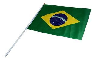 Kit C/ 100 Bandeirinhas De Mão 15x21 Do Brasil C/ Haste
