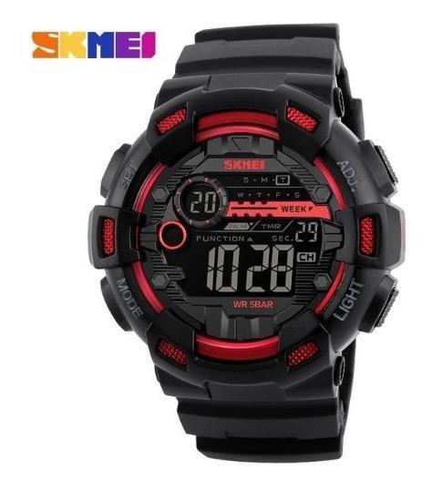 Relógio De Pulso Skmei 1243 Preto E Vermelho Original