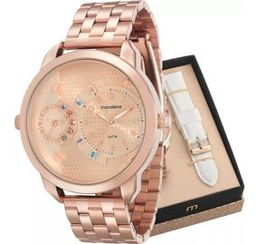 Relógio Feminino Rosê Troca Pulseiras Mondaine 76715lpmvre2