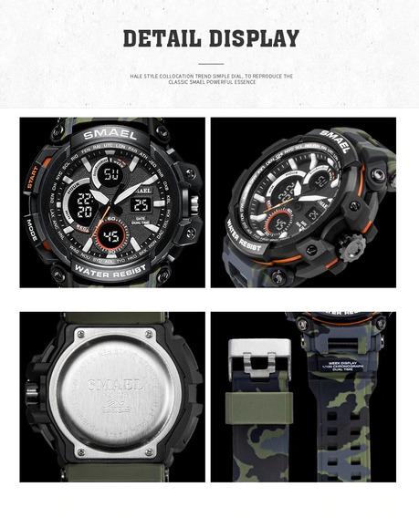 Relógio Smael 1708b Black Gree Camuflado Militar Prova Dágua