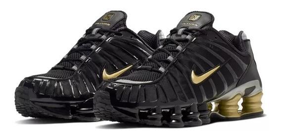 Tenis Nike Shox Tl 12 Molas Preto E Dourado + Brinde